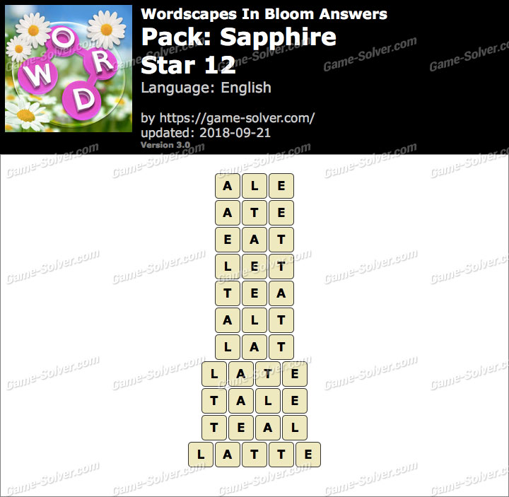 Wordscapes In Bloom Sapphire-Star 12 Answers