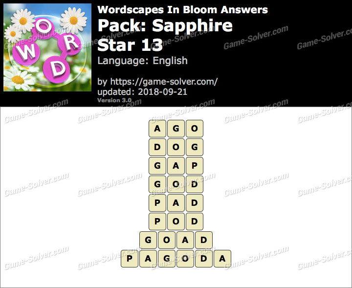 Wordscapes In Bloom Sapphire-Star 13 Answers
