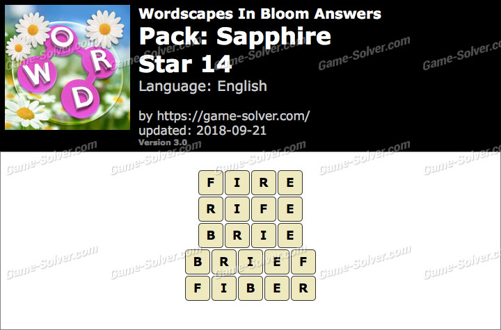 Wordscapes In Bloom Sapphire-Star 14 Answers