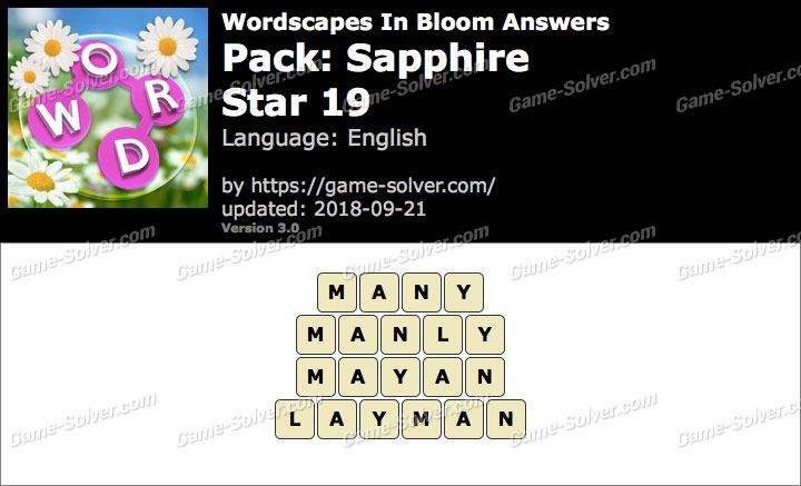 Wordscapes In Bloom Sapphire-Star 19 Answers