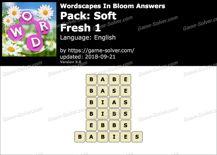 Wordscapes In Bloom Soft-Fresh 1 Answers
