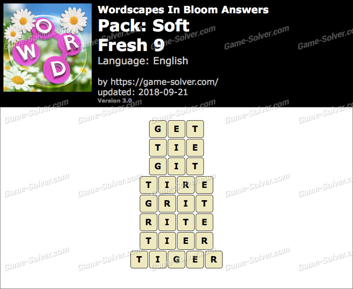 Wordscapes In Bloom Soft-Fresh 9 Answers