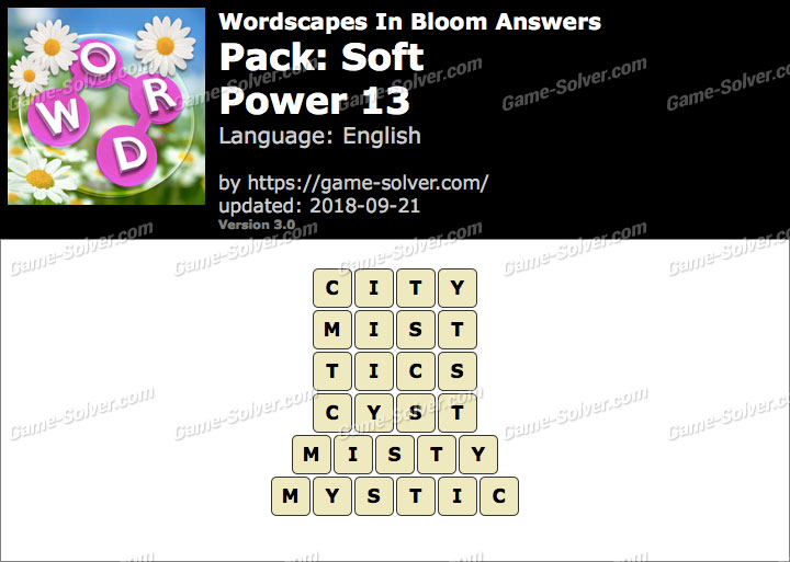 Wordscapes In Bloom Soft-Power 13 Answers