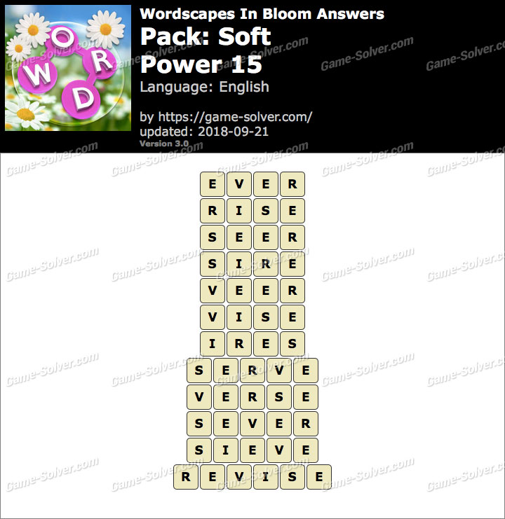 Wordscapes In Bloom Soft-Power 15 Answers