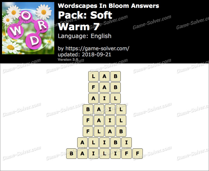 Wordscapes In Bloom Soft-Warm 7 Answers