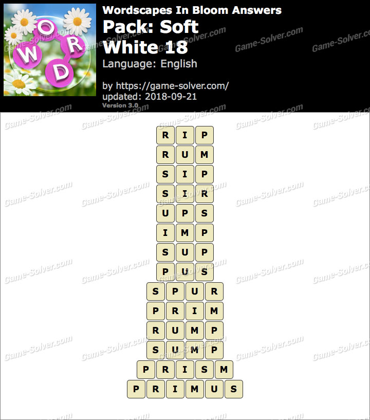 Wordscapes In Bloom Soft-White 18 Answers