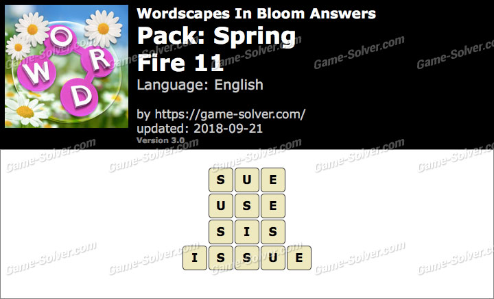 Wordscapes In Bloom Spring-Fire 11 Answers