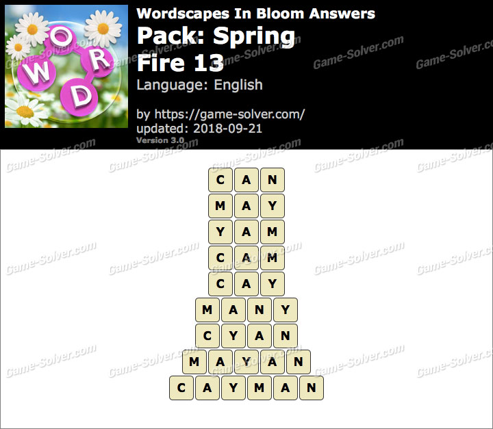 Wordscapes In Bloom Spring-Fire 13 Answers