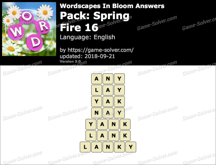 Wordscapes In Bloom Spring-Fire 16 Answers