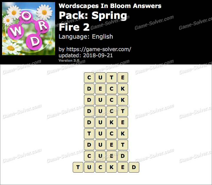 Wordscapes In Bloom Spring-Fire 2 Answers