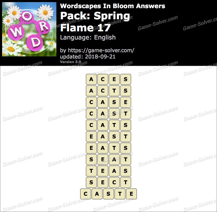 Wordscapes In Bloom Spring-Flame 17 Answers