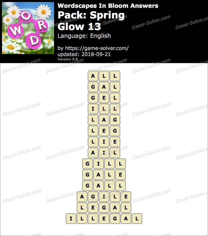 Wordscapes In Bloom Spring-Glow 13 Answers