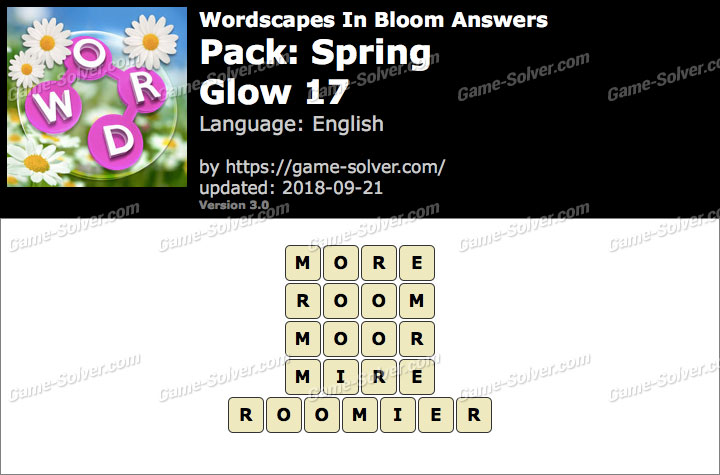 Wordscapes In Bloom Spring-Glow 17 Answers