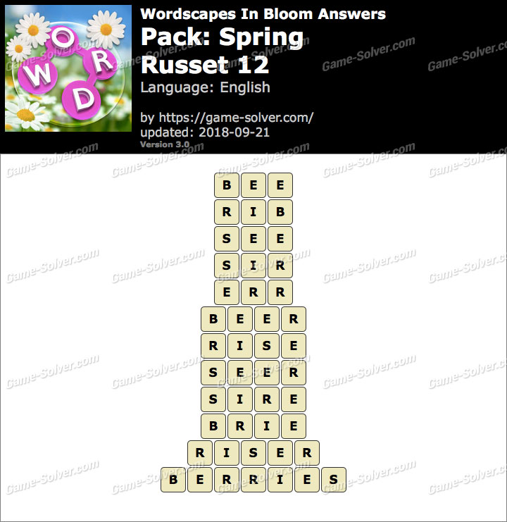 Wordscapes In Bloom Spring-Russet 12 Answers
