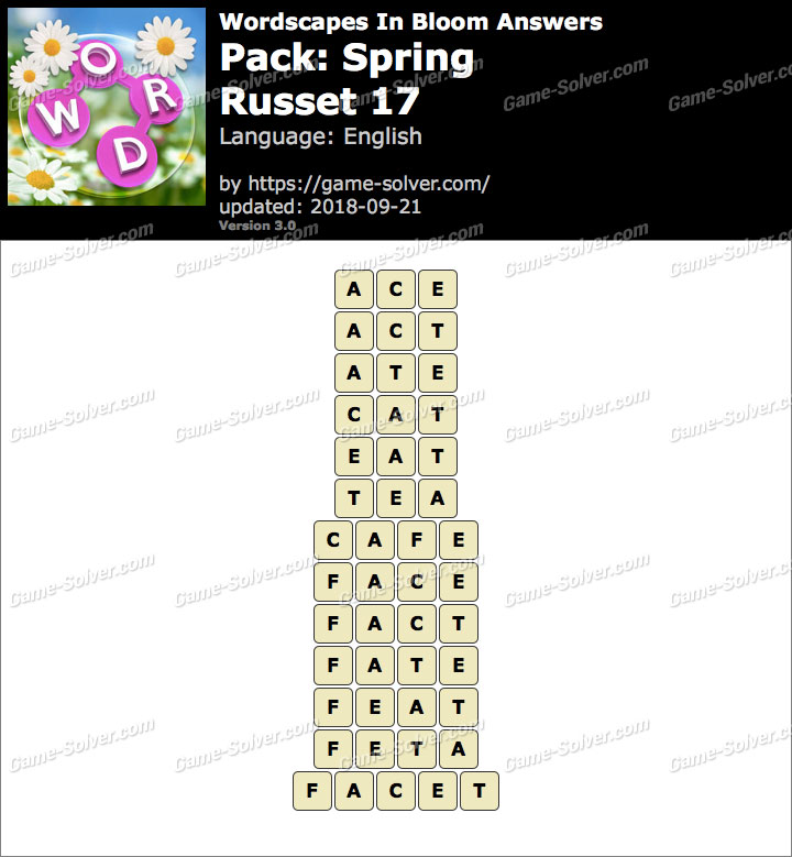 Wordscapes In Bloom Spring-Russet 17 Answers