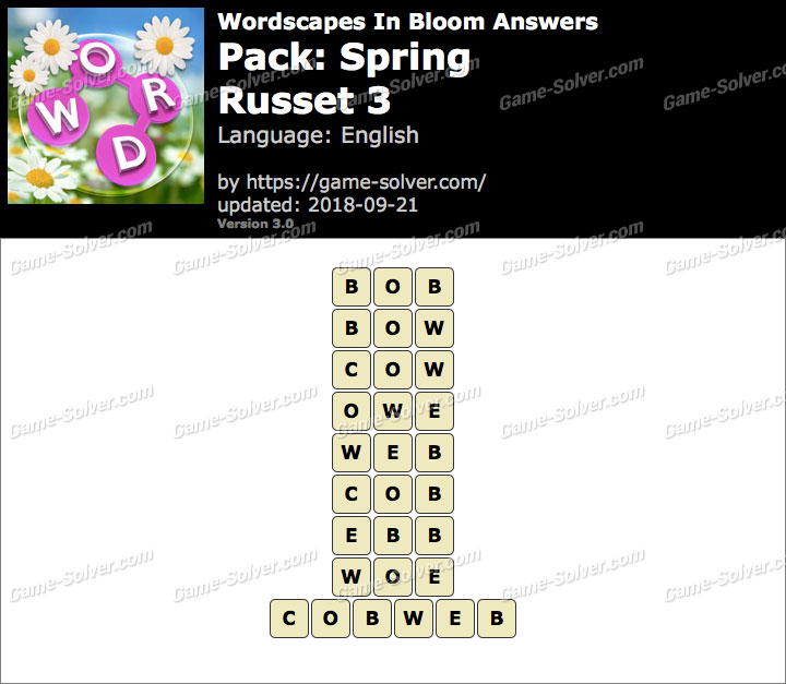 Wordscapes In Bloom Spring-Russet 3 Answers