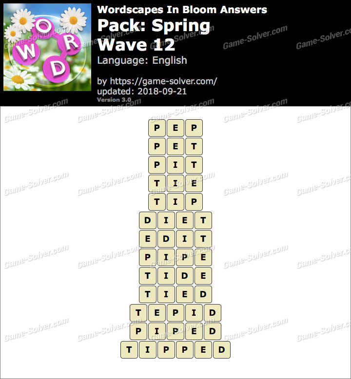 Wordscapes In Bloom Spring-Wave 12 Answers