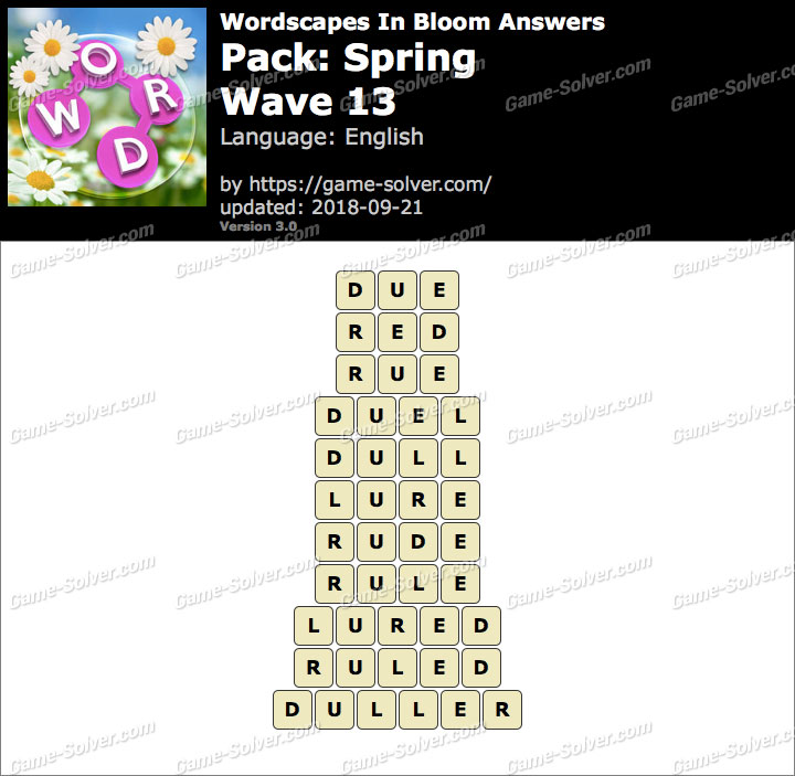 Wordscapes In Bloom Spring-Wave 13 Answers