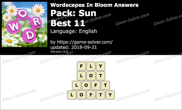 Wordscapes In Bloom Sun-Best 11 Answers