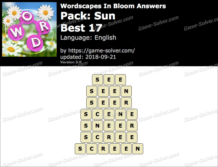 Wordscapes In Bloom Sun-Best 17 Answers