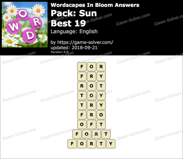 Wordscapes In Bloom Sun-Best 19 Answers