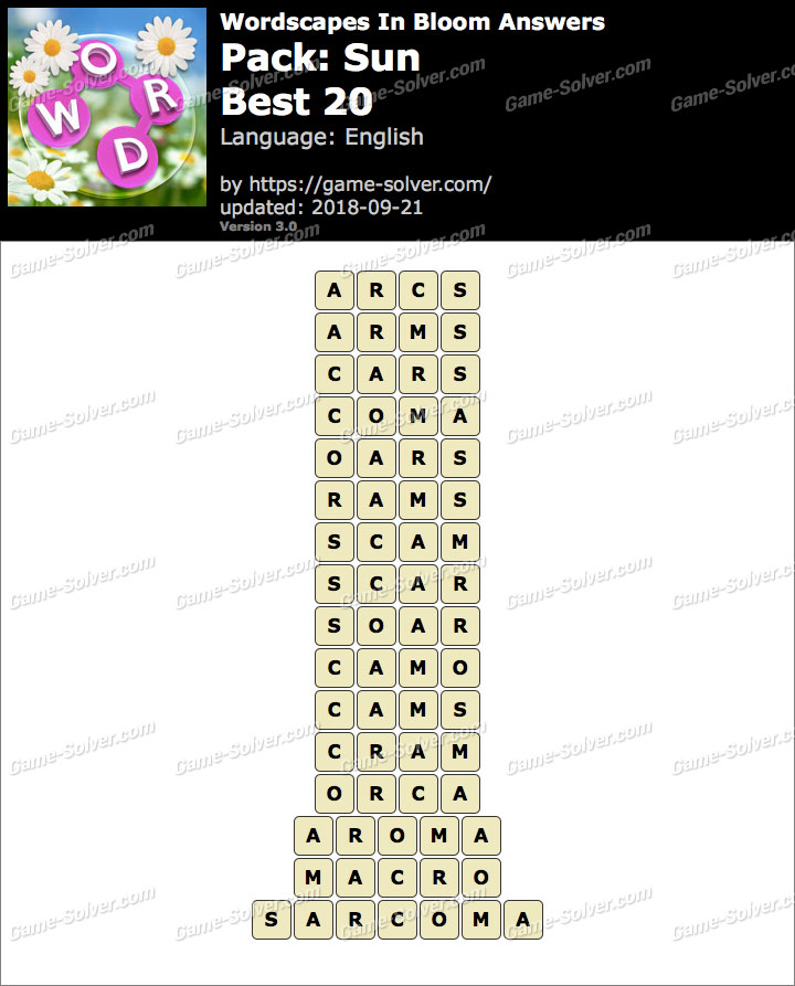 Wordscapes In Bloom Sun-Best 20 Answers