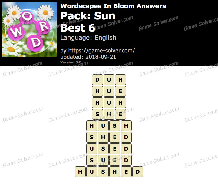 Wordscapes In Bloom Sun-Best 6 Answers