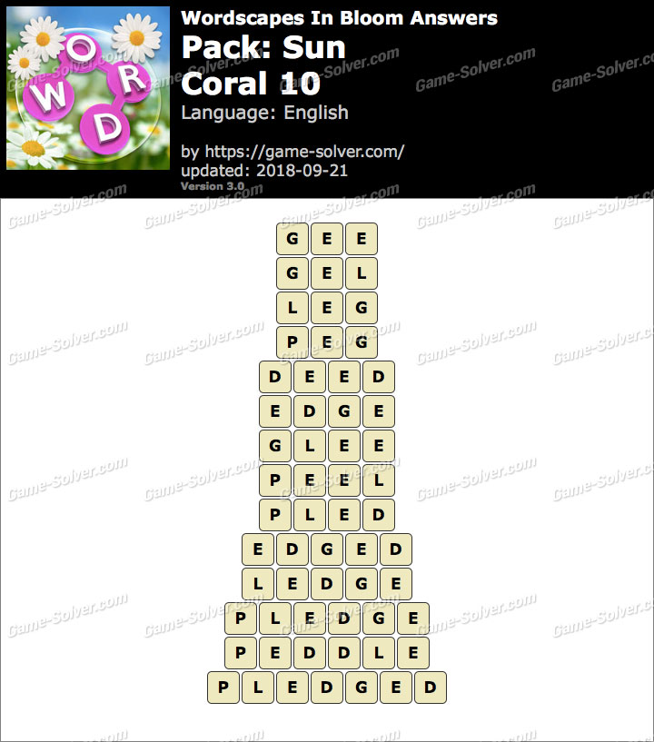 Wordscapes In Bloom Sun-Coral 10 Answers