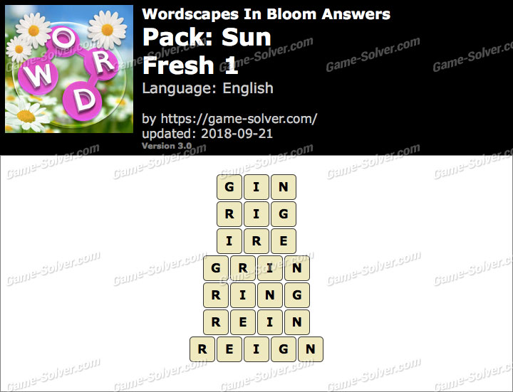 Wordscapes In Bloom Sun-Fresh 1 Answers