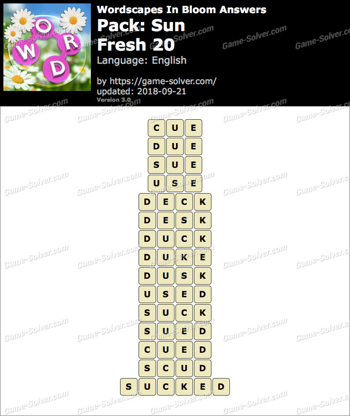 Wordscapes In Bloom Sun-Fresh 20 Answers