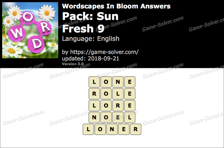 Wordscapes In Bloom Sun-Fresh 9 Answers
