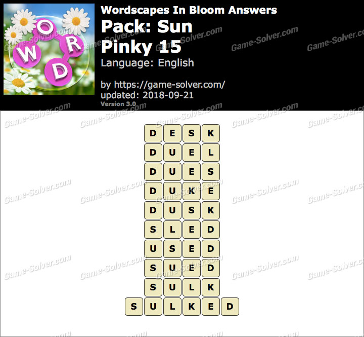Wordscapes In Bloom Sun-Pinky 15 Answers