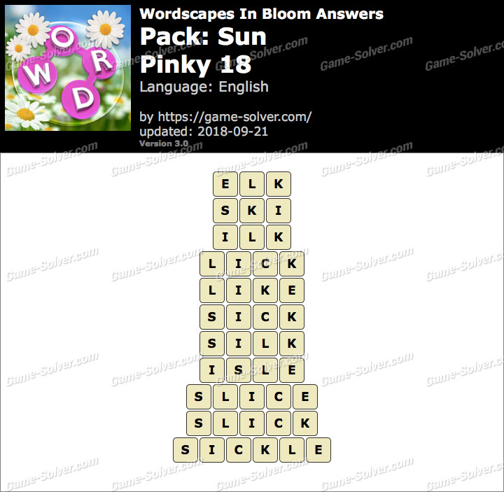 Wordscapes In Bloom Sun-Pinky 18 Answers