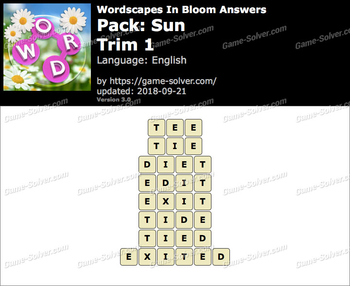 Wordscapes In Bloom Sun-Trim 1 Answers