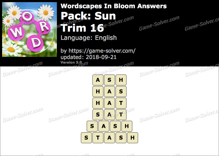 Wordscapes In Bloom Sun-Trim 16 Answers