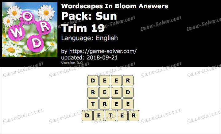 Wordscapes In Bloom Sun-Trim 19 Answers