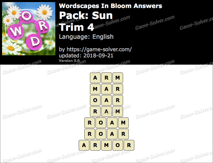 Wordscapes In Bloom Sun-Trim 4 Answers