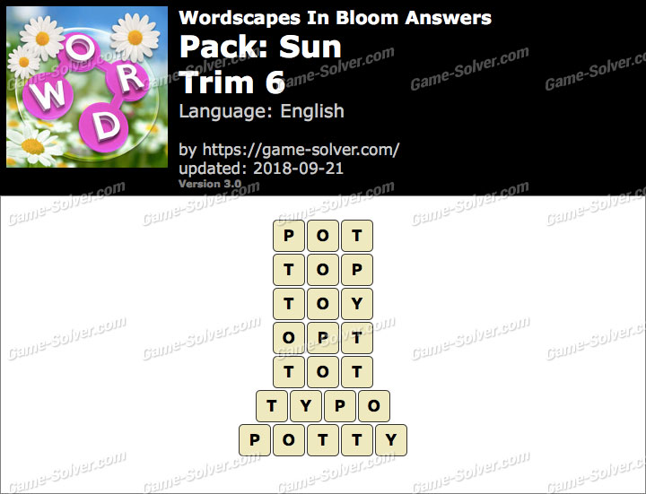 Wordscapes In Bloom Sun-Trim 6 Answers