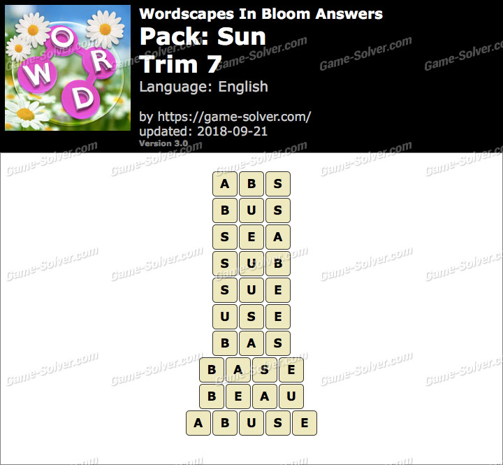 Wordscapes In Bloom Sun-Trim 7 Answers