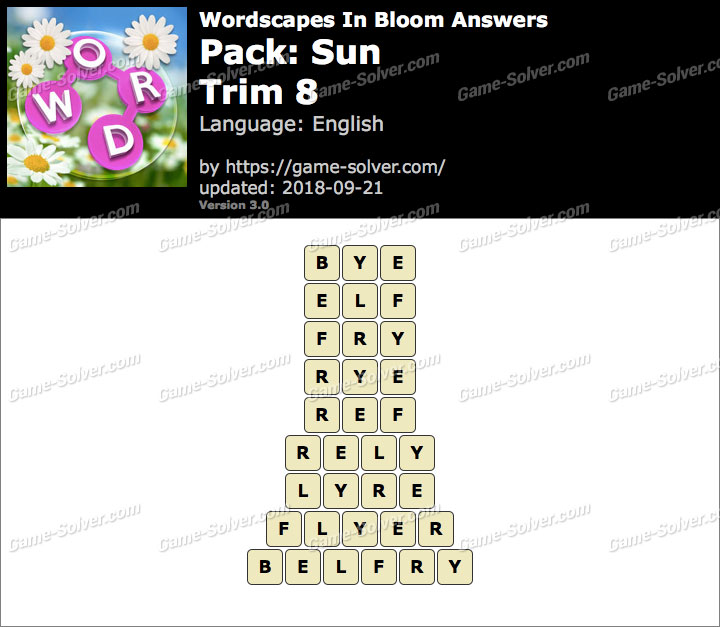 Wordscapes In Bloom Sun-Trim 8 Answers