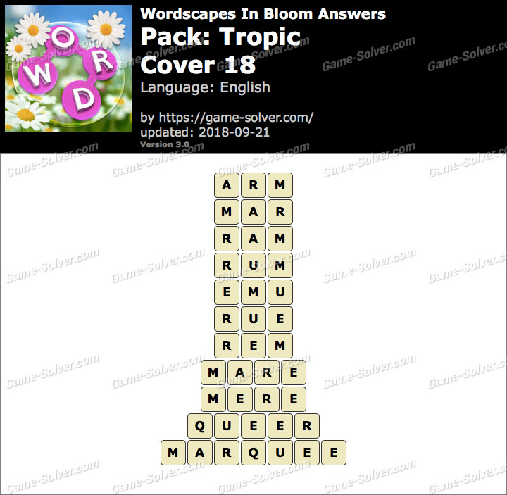 Wordscapes In Bloom Tropic-Cover 18 Answers