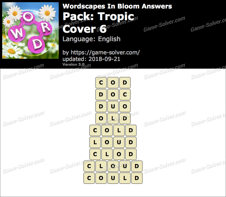 Wordscapes In Bloom Tropic-Cover 6 Answers