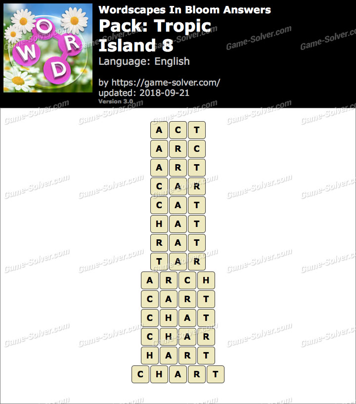 Wordscapes In Bloom Tropic-Island 8 Answers