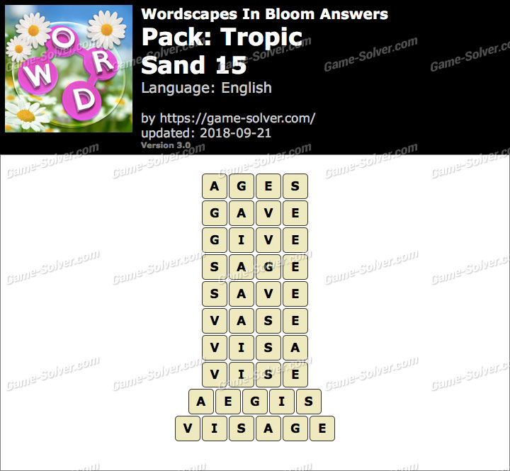 Wordscapes In Bloom Tropic-Sand 15 Answers