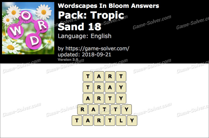 Wordscapes In Bloom Tropic-Sand 18 Answers