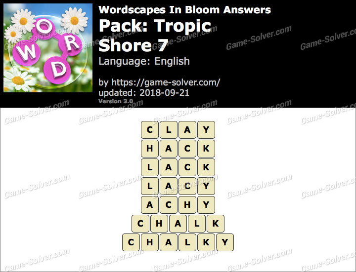 Wordscapes In Bloom Tropic-Shore 7 Answers