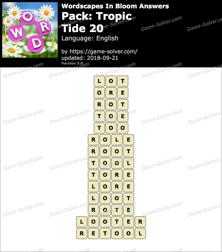Wordscapes In Bloom Tropic-Tide 20 Answers