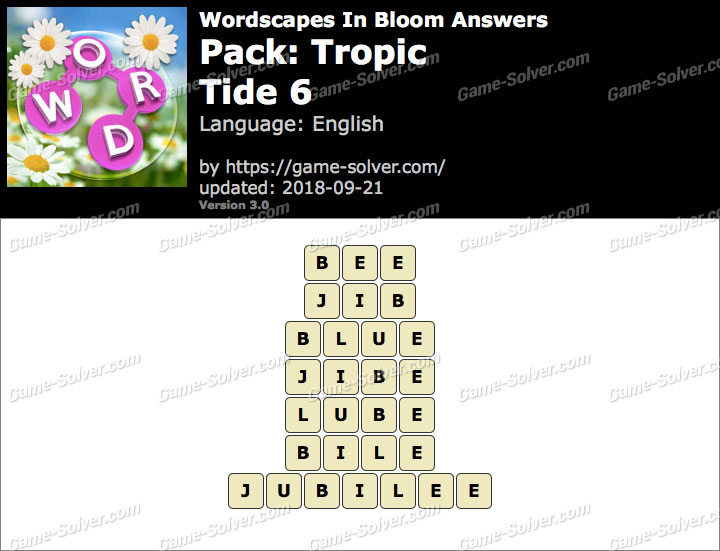 Wordscapes In Bloom Tropic-Tide 6 Answers
