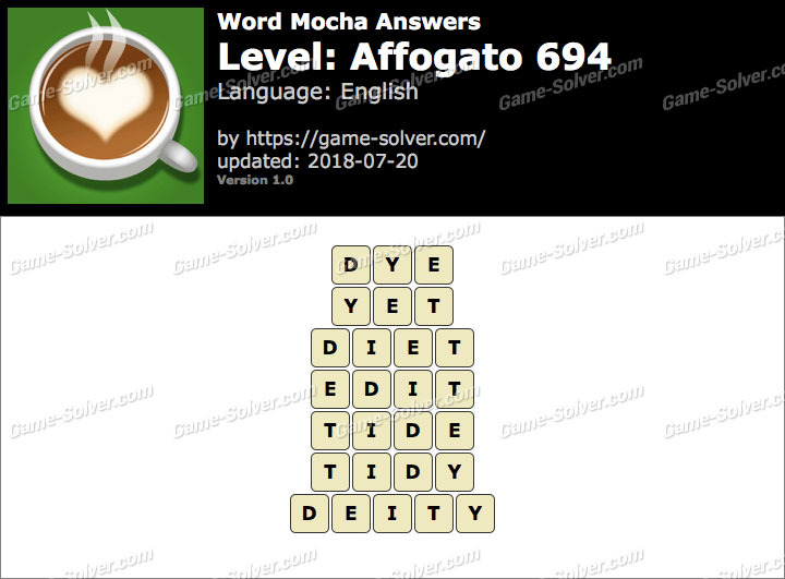 Word Mocha Affogato 694 Answers