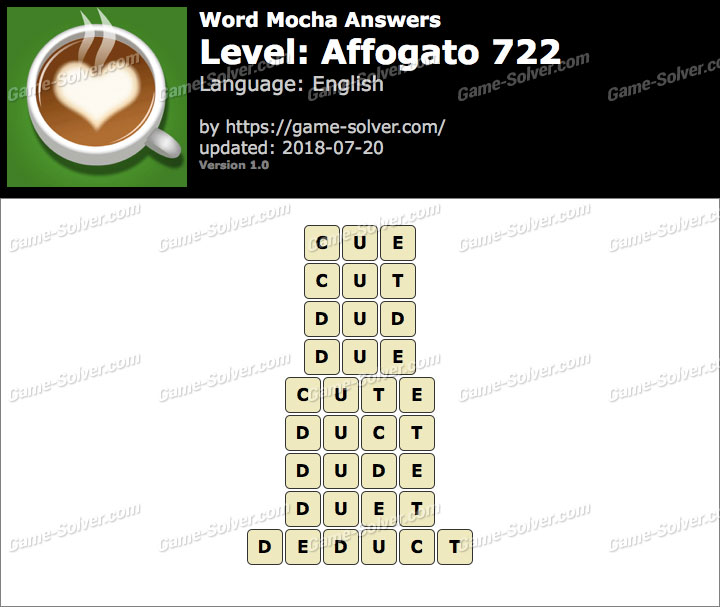 Word Mocha Affogato 722 Answers